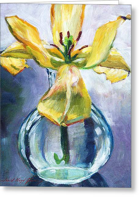Green Glass Greeting Cards - Lily in Glass Greeting Card by David Lloyd Glover