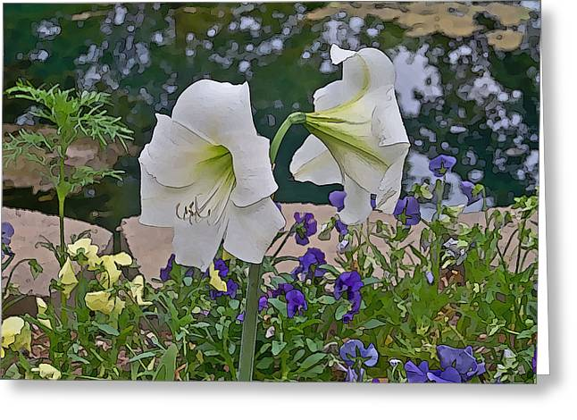 Arkansas Mixed Media Greeting Cards - Lily Greeting Card by Julie  Grace