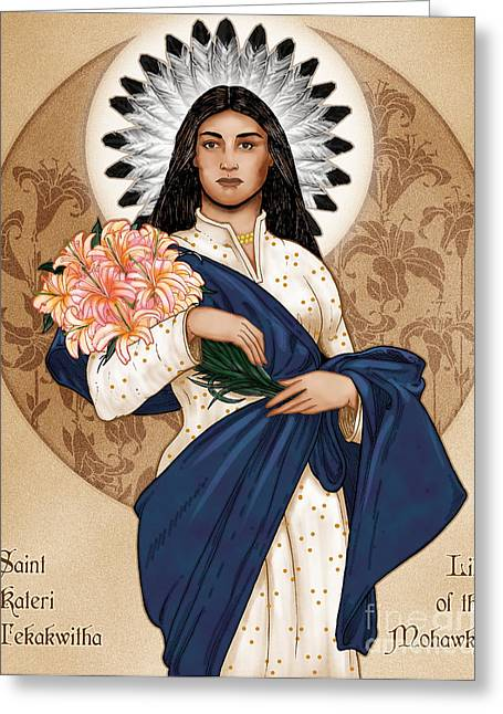 Kateri Tekakwitha Greeting Cards - Lily of the Mohawks Greeting Card by Lawrence Klimecki