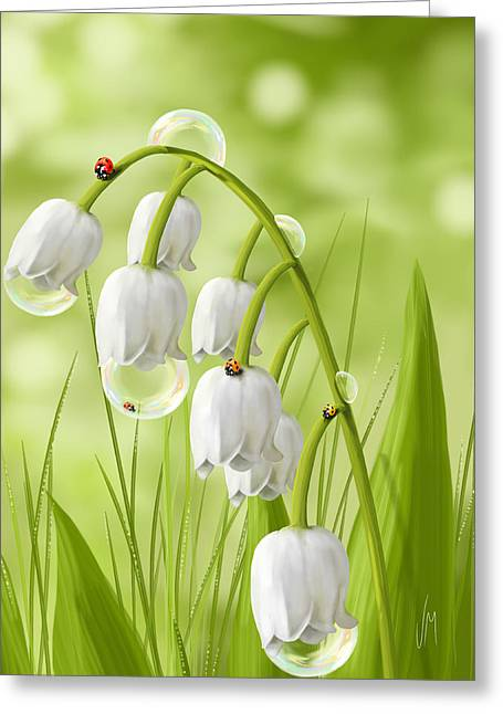 Digital Finger Greeting Cards - Lily of the valley Greeting Card by Veronica Minozzi