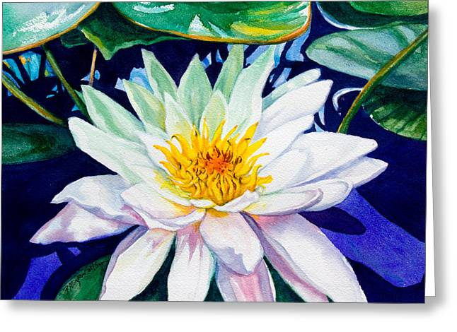 Water Garden Greeting Cards - Lily on the Water Greeting Card by Patricia Allingham Carlson