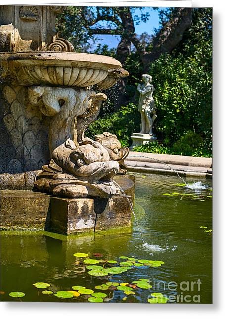 Three Tiered Fountain Greeting Cards - Lily Pad Fountain - iconic fountain at the Huntington Library. Greeting Card by Jamie Pham