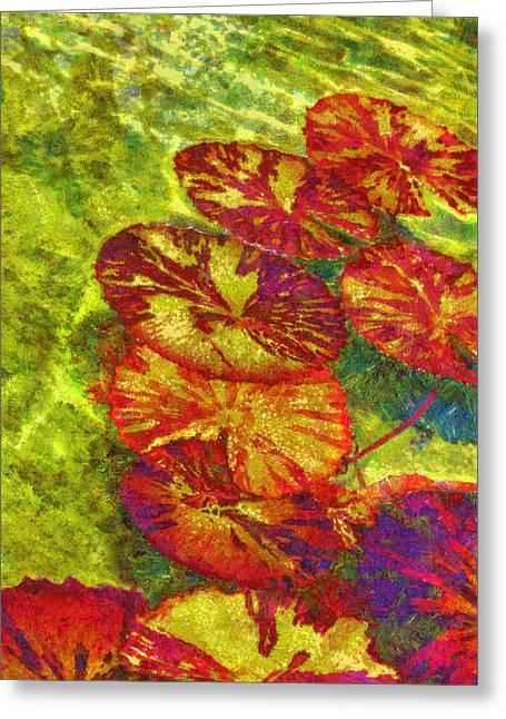 Water Garden Pastels Greeting Cards - Lily Pad Underwater Greeting Card by Viktor Savchenko