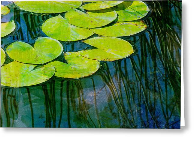 Lily Pad Greeting Cards - Lily Pads 3 Greeting Card by Rebecca Cozart