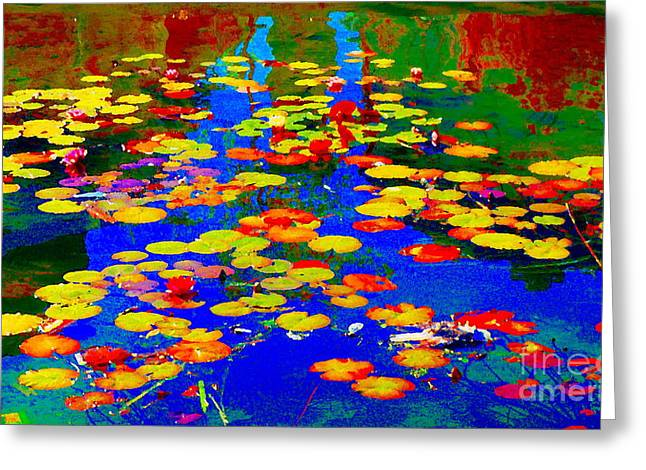 Hommage Greeting Cards - Lily Pads And Koi  Pond Waterlilies Summer Gardens Beautiful Blue Waters Quebec Art Carole Spandau  Greeting Card by Carole Spandau