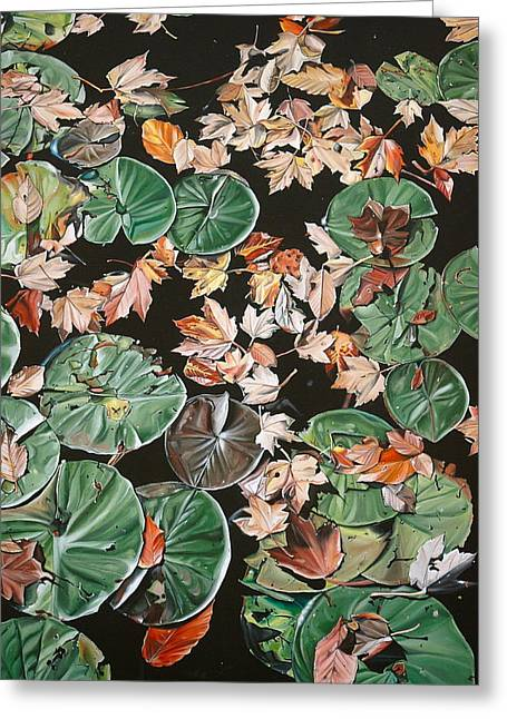 Anthony Mezza Paintings Greeting Cards - Lily Pads and Leaves Greeting Card by Anthony Mezza