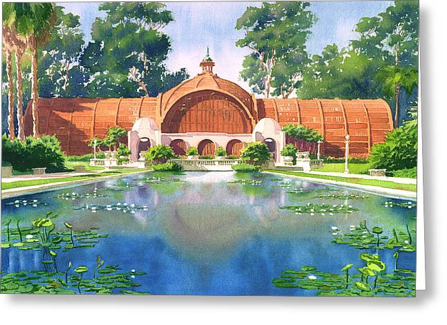 Lily Pond and Botanical Garden Greeting Card by Mary Helmreich