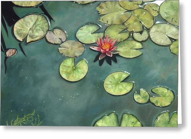 Lilly Pond Paintings Greeting Cards - Lily Pond Greeting Card by David Stribbling