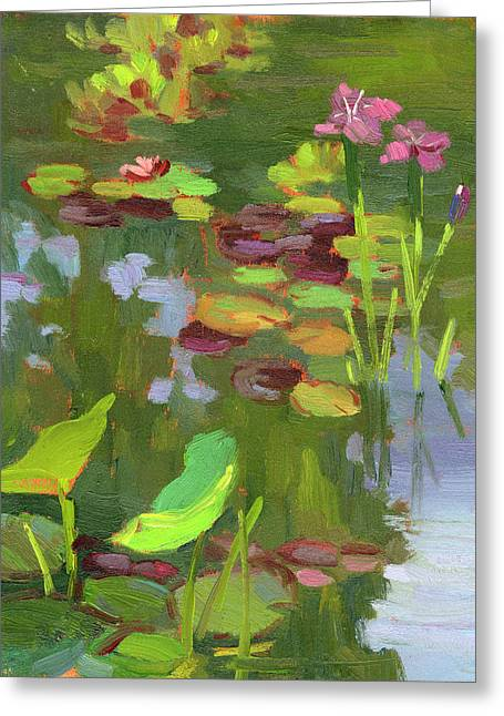 Lily Pond Greeting Cards - Lily Pond Greeting Card by Diane McClary