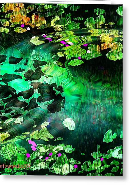 Pensive Digital Greeting Cards - Lily Pond Greeting Card by Mimulux patricia no