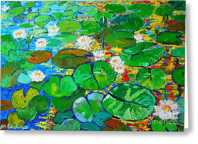 Green And Yellow Greeting Cards - Lily Pond Reflections Greeting Card by Ana Maria Edulescu