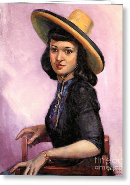 Pageboy Hairdo Greeting Cards - Lily Wearing Sombrero 1941 Greeting Card by Art By Tolpo Collection