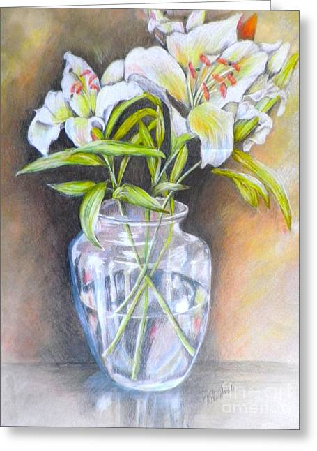 Glass Vase Drawings Greeting Cards - Lily White Greeting Card by Sandra Valentini