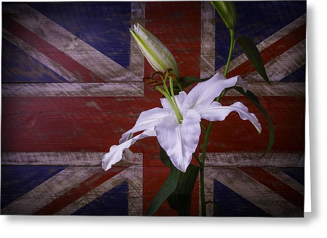 Oriental Tiger Greeting Cards - Lily With British Flag Greeting Card by Garry Gay
