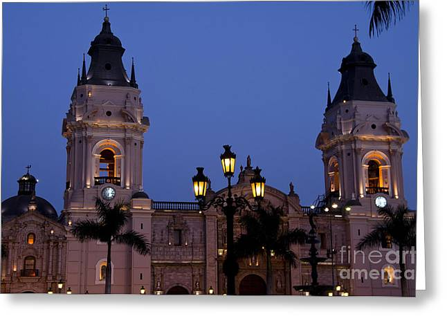 Night Lamp Greeting Cards - Lima Cathedral Twin Towers Greeting Card by Bob Phillips