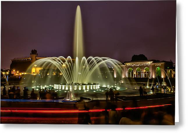 Fountain Photograph Greeting Cards - Lima Nights Greeting Card by Dado Molina