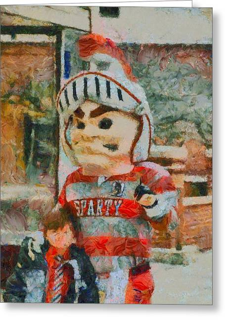 Competition Mixed Media Greeting Cards - Lima Senior Mascot Greeting Card by Dan Sproul