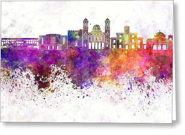 Limassol Greeting Cards - Limassol skyline in watercolor background Greeting Card by Pablo Romero