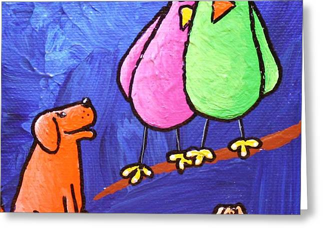 Dog With Tennis Ball Greeting Cards - Limb Birds - Big Dog Little Dog Greeting Card by Linda Eversole