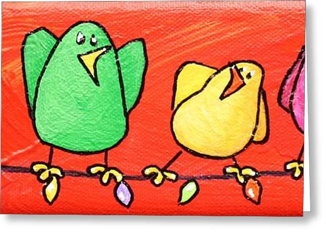 Green And Yellow Greeting Cards - Limb Birds - Caroling on the Lights Greeting Card by Linda Eversole