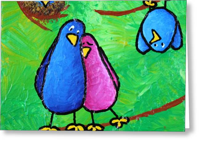 Outnumbering Greeting Cards - Limb Birds - Outnumbered Greeting Card by Linda Eversole