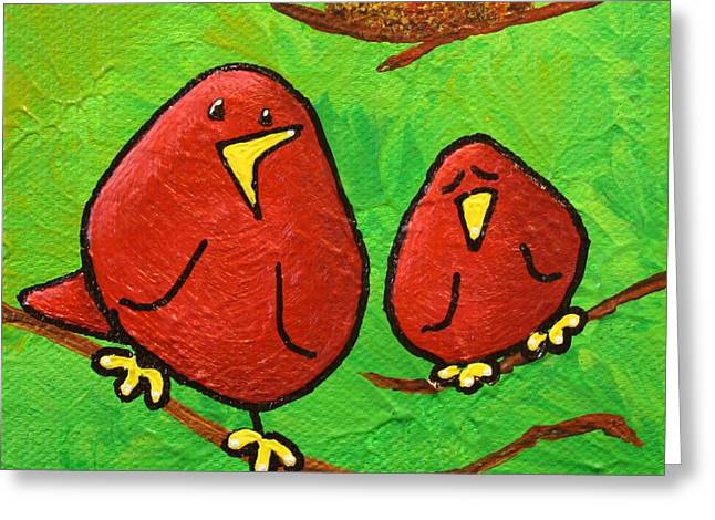 Limb Birds - Red Overhead Greeting Card by Linda Eversole