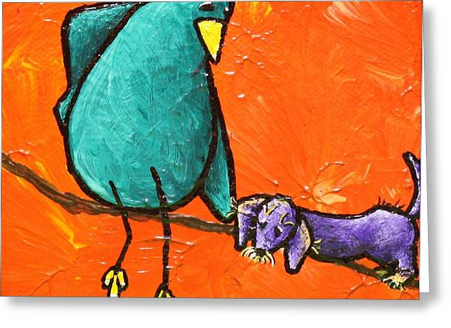 Dog With Tennis Ball Greeting Cards - Limb Birds - You Get It Greeting Card by Linda Eversole