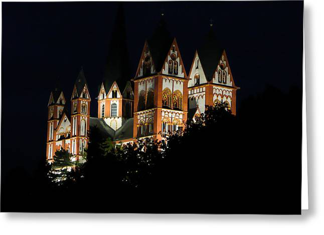 Cathedral Limburg Greeting Cards - Limburg Cathedral at night Greeting Card by Jenny Setchell