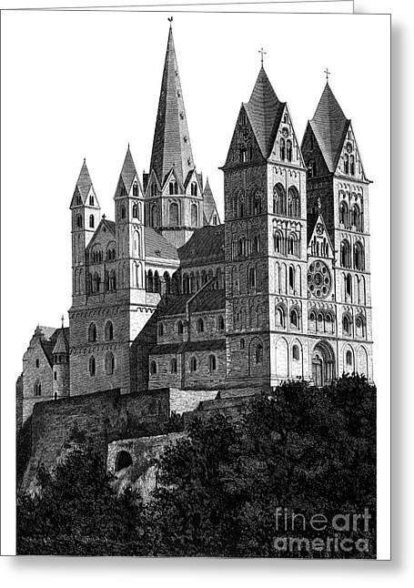 Cathedral Limburg Greeting Cards - Limburg Cathedral beautiful detailed woodblock print Greeting Card by Christos Georghiou