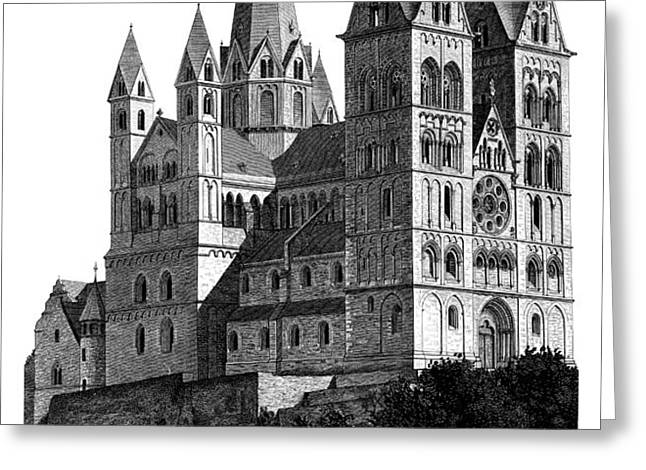 Limburg Cathedral beautiful detailed woodblock print Greeting Card by Christos Georghiou