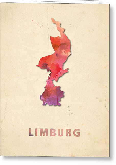 Limburg Greeting Cards - Limburg watercolour map Greeting Card by Big City Artwork