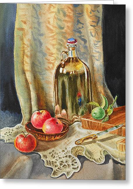 Lemon Art Greeting Cards - Lime And Apples Still Life Greeting Card by Irina Sztukowski