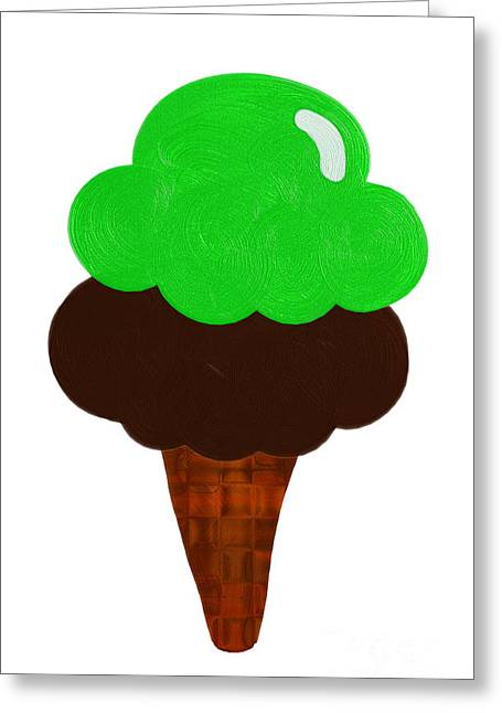 Food Digital Greeting Cards - Lime And Chocolate Ice Cream Greeting Card by Andee Design