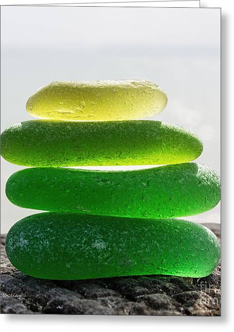 Treasures Glass Art Greeting Cards - Lime Breeze Greeting Card by Barbara McMahon