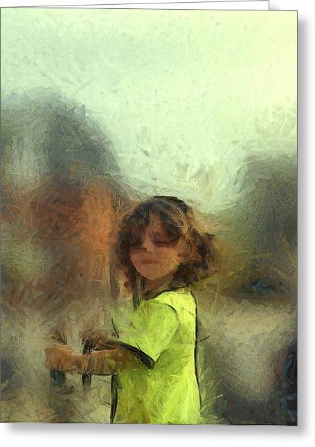 Wow Pastels Greeting Cards - Lime Chalk Figure Little Boy Custom Portrait Commission Greeting Card by MendyZ