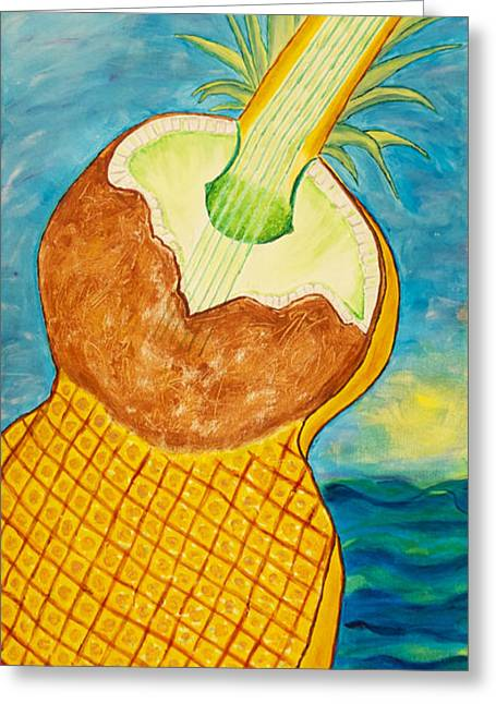 Santa Cruz Ca Paintings Greeting Cards - Lime Coconut Pineapple Guitar Greeting Card by Phoenix The Moody Artist