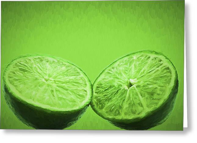 Sour Greeting Cards - Lime Food Painted Digitally 2 Greeting Card by David Haskett