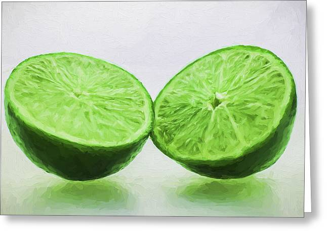 Sour Greeting Cards - Lime Food Painted Digitally 3 Greeting Card by David Haskett