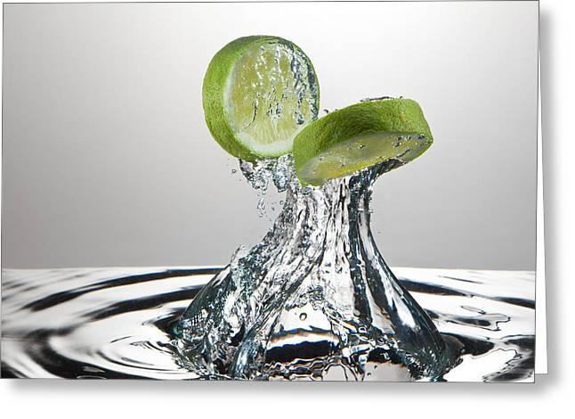 Organic Photographs Greeting Cards - Lime FreshSplash Greeting Card by Steve Gadomski