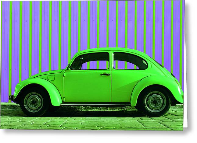 Vw Beetle Greeting Cards - Lime Green Bug Greeting Card by Laura  Fasulo