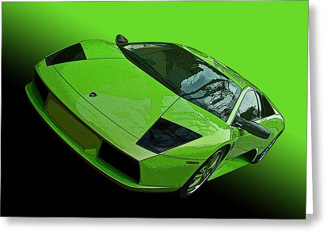 Lime Green Lamborghini Murcielago Greeting Card by Samuel Sheats