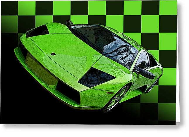 Lime Green Lamborghini Murcielago With Checkerboard Greeting Card by Samuel Sheats