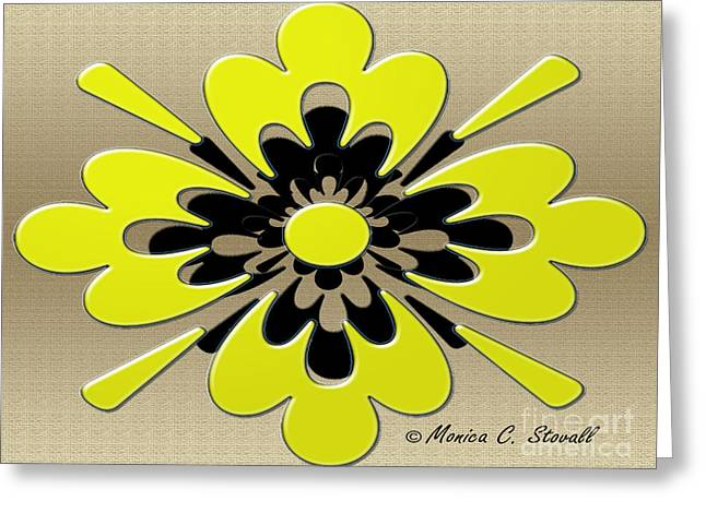 Gold Lime Green Greeting Cards - Lime Green on Gold Floral Design Greeting Card by Monica C Stovall
