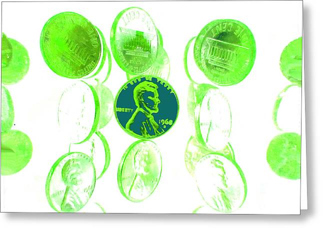 I Love Money Greeting Cards - Lime Green Pennies Greeting Card by Diane McElhaney