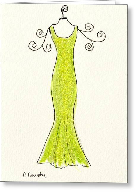 Ball Gown Paintings Greeting Cards - Lime Green Sheath Gown Greeting Card by Cindy Nowotny