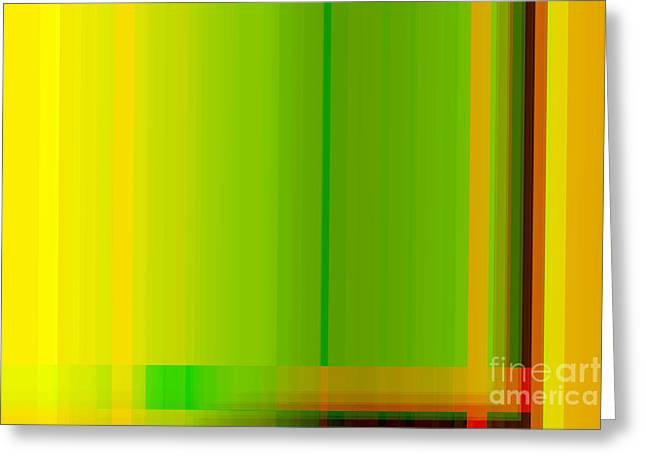Lounge Digital Art Greeting Cards - Lime Green Yellow Orange Lines Abstract Greeting Card by Natalie Kinnear