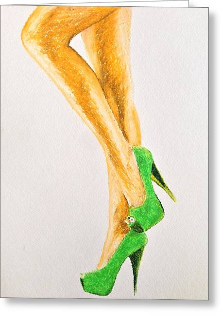 High Heeled Pastels Greeting Cards - Lime Heels Greeting Card by James Patrick