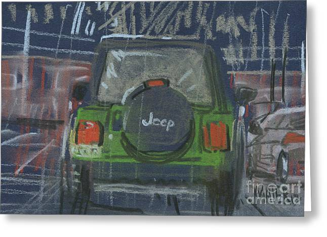 Jeeps Greeting Cards - Lime Jeep Greeting Card by Donald Maier