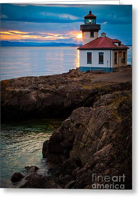 Pacific Northwest Greeting Cards - Lime Kiln Sunburst Greeting Card by Inge Johnsson