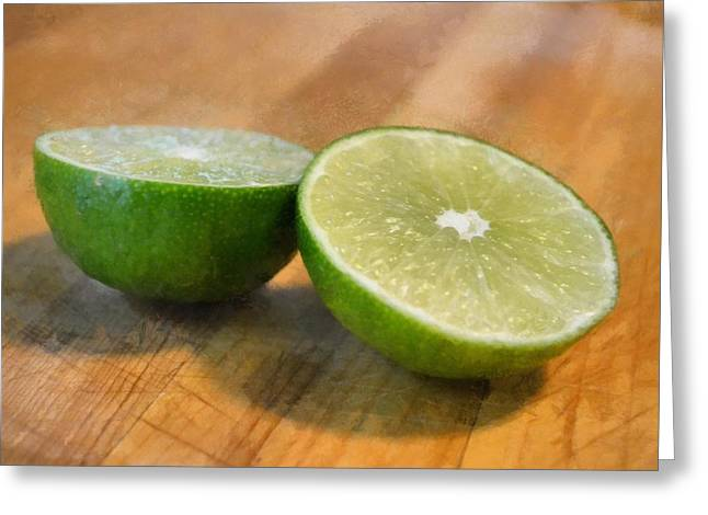 Ingredients Digital Art Greeting Cards - Lime Greeting Card by Michelle Calkins